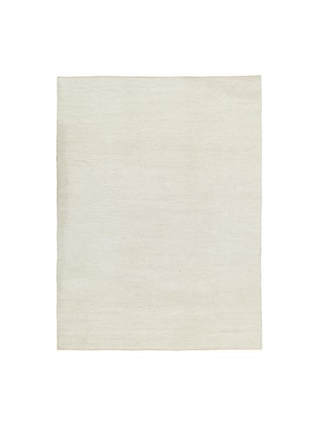 Alfombra artesanal de lana Uno, Parte superior: 60%lana, 40%poliéster, Reverso: algodón, Crema, An 120 x L 170 cm (Tamaño S)
