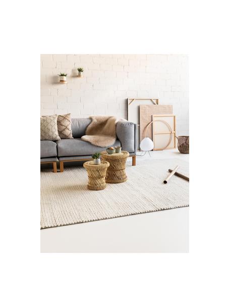 Handgeweven wollen vloerkleed Uno in crèmekleur met gevlochten structuur, Bovenzijde: 60% wol, 40% polyester, Onderzijde: 100% katoen Bij wollen vl, Crèmekleurig, B 120 x L 170 cm (maat S)