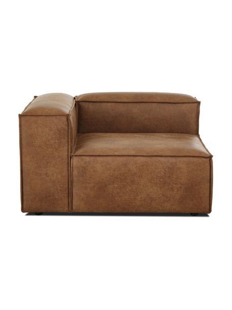 Módulo de esquina sofá de cuero reciclado Lennon, Tapizado: cuero reciclado (70%cuer, Estructura: madera de pino maciza, ma, Patas: plástico Las patas están , Cuero marrón, An 119 x F 119 cm