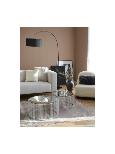 Metalen salontafel 2-delig Wire met glasplaat, Frame: gepoedercoat metaal, Tafelblad: veiligheidsglas, in folie, Chroomkleurig, Set met verschillende formaten