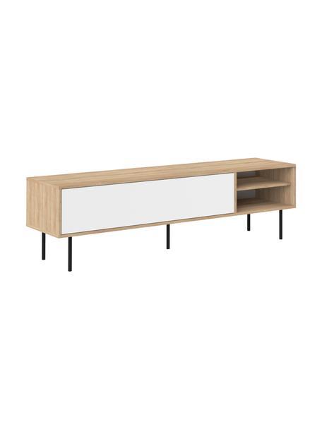 Scandi tv-meubel Ampère, Frame: melamine gecoate spaanpla, Poten: gecoat metaal, Eikenhoutkleurig, wit, zwart, 165 x 40 cm