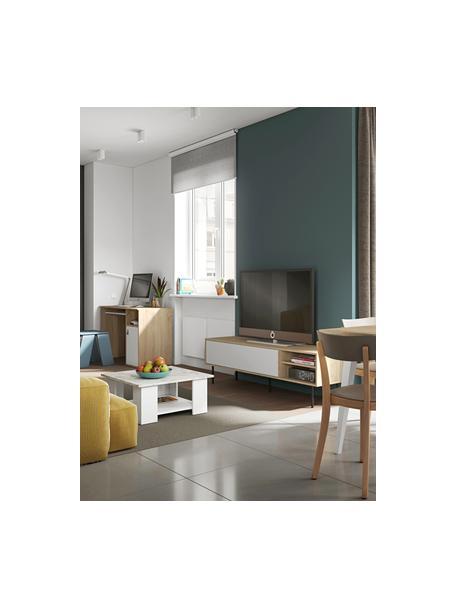 Skandi TV-Konsole Ampère, Korpus: Spanplatte, melaminbeschi, Füße: Metall, beschichtet, Eichenholz, Weiß, Schwarz, 165 x 40 cm