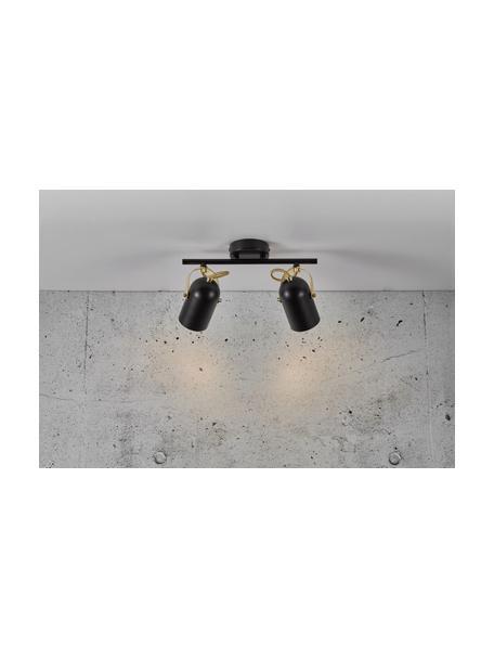 Retro plafondspot Lotus, Lampenkap: gecoat metaal, Decoratie: gecoat metaal, Baldakijn: gecoat metaal, Zwart, messingkleurig, 35 x 19 cm