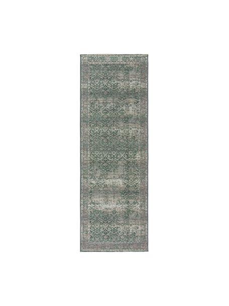 In & outdoor loper Artis in vintage look, 76% polypropyleen, 23% polyester, 1% latex, Groen, beige, 80 x 250 cm