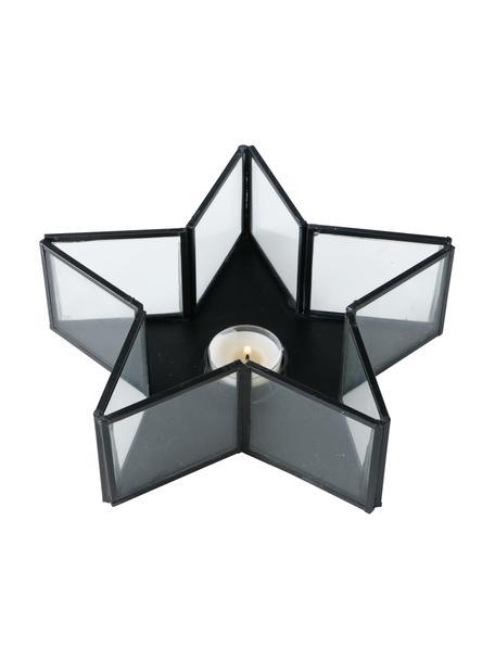 Teelichthalter Tisana, Gestell: Metall, beschichtet, Schwarz, 22 x 7 cm