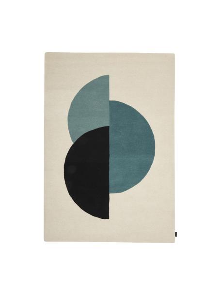 Handgetuft wollen vloerkleed Zenia in beige/blauw met abstract patroon, 100% wol, Crèmekleurig, blauw, zwart, B 140 x L 200 cm (maat S)