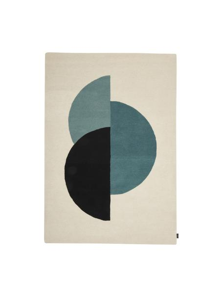 Handgetufteter Wollteppich Zenia in Beige/Blau mit abstraktem Muster, 100% Wolle, Cremefarben, Blau, Schwarz, B 140 x L 200 cm (Größe S)