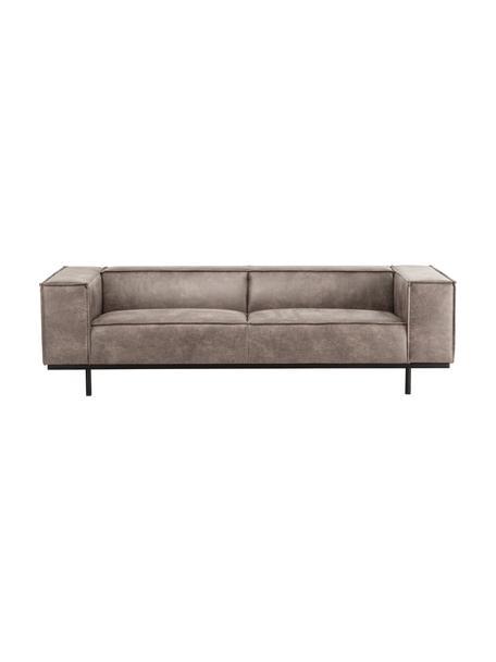 Sofá de cuero Abigail (2plazas), Tapizado: fibra de cuero (70%cuero, Patas: acero, pintado, Color coñac, An 190 x F 95 cm