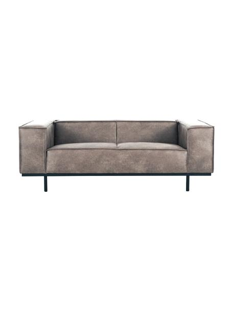 Sofá de cuero Abigail (2plazas), Tapizado: fibra de cuero (70%cuero, Patas: metal pintado, Cuero tórtola, An 190 x F 95 cm