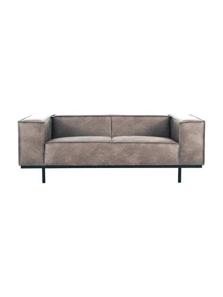 Sofa skórzana z metalowymi nogami Abigail (2-osobowa), Tapicerka: 70% skóra, 30% poliester, Nogi: metal lakierowany, Koniakowy, S 190 x G 95 cm