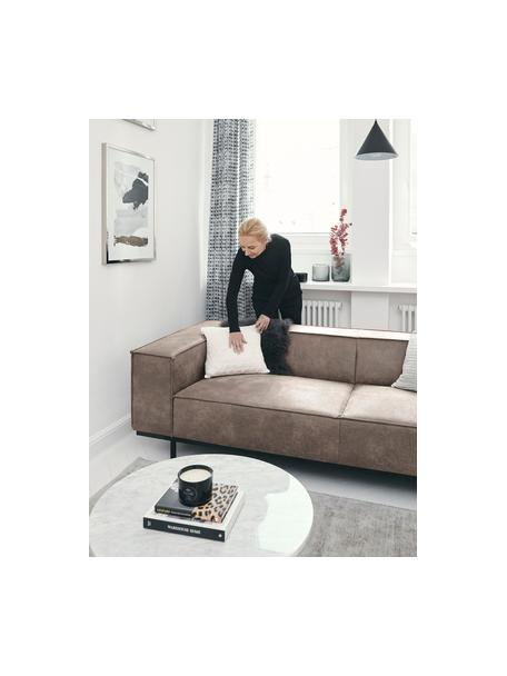 Leder-Sofa Abigail (2-Sitzer) in Braungrau mit Metall-Füßen, Bezug: Lederfaserstoff (70% Lede, Beine: Metall, lackiert, Leder Braungrau, B 190 x T 95 cm