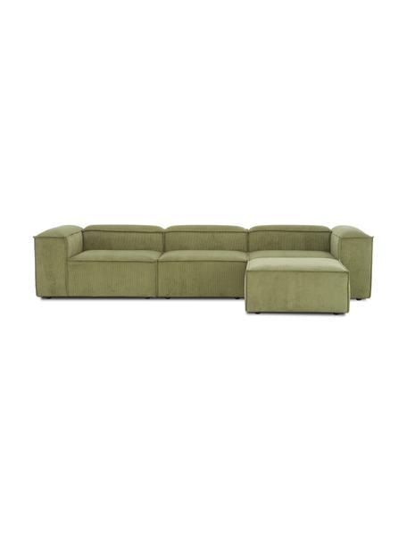 Sofá modular de pana Lennon (4plazas) con taburete/reposapiés, Tapizado: pana (92%poliéster, 8%p, Estructura: madera de pino maciza, ma, Patas: plástico Las patas están , Pana verde, An 327 x F 207 cm