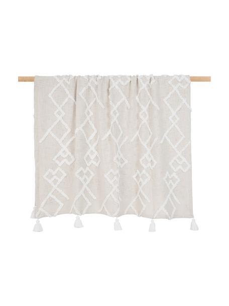Koc  z bawełny z tuftowaną dekoracją Tikki, 100% bawełna, Beżowy, S 130 x D 170 cm