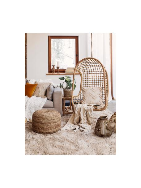Coperta in cotone con decorazione a ciuffi Tikki, 100% cotone, Beige, Larg. 130 x Lung. 170 cm