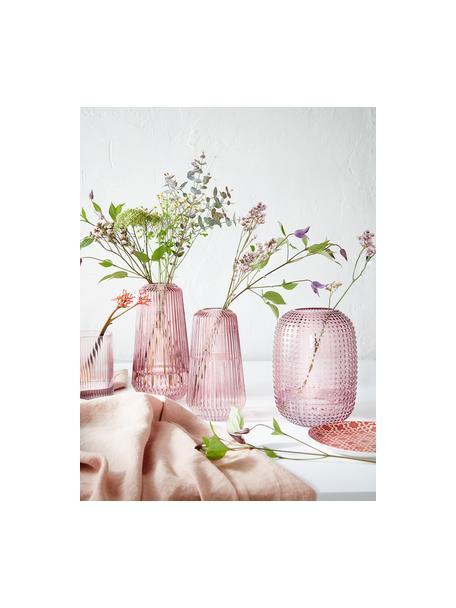 Vaso alto in vetro Lily, Vetro, Rosa trasparente, Ø 14 x Alt. 25 cm