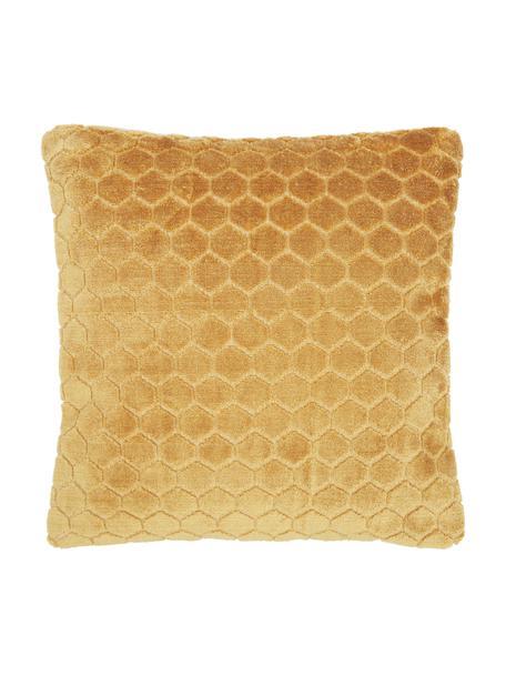 Fluwelen kussenhoes Carraway met structuurpatroon, Mosterdgeel, 45 x 45 cm