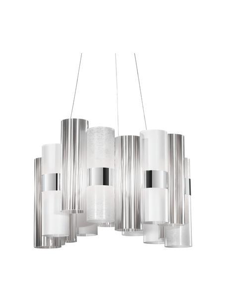 Dimbare LED hanglamp La Lollo van kunststof, Lampenkap: Cristalflex, Lentiflex, P, Baldakijn: metaal, Zilverkleurig, wit, Ø 48 x H 35 cm