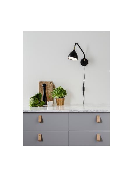 Wandlamp Valencia met stekker, Lampenkap: gecoat metaal, Diffuser: kunststof, Decoratie: vermessingd metaal, Zwart, 12 x 28 cm
