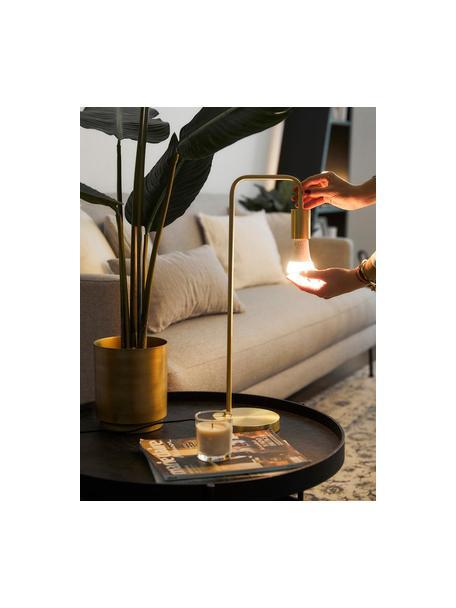 Grote tafellamp Flow van metaal, Frame: vermessingd metaal, Geborsteld messingkleurig, 22 x 56 cm