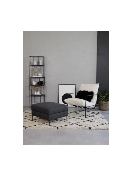 Poggiapiedi contenitore da divano antracite Cucita, Rivestimento: tessuto (poliestere) 45.0, Struttura: legno di pino massiccio, Piedini: metallo laccato, Antracite, Larg. 75 x Alt. 46 cm