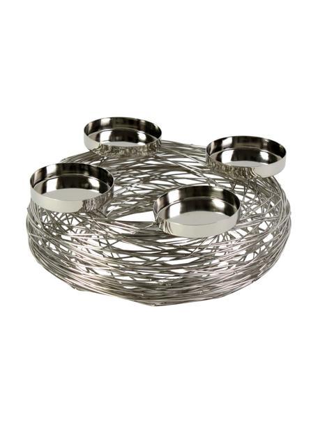 Adventskranz Tangle, Metall, Silberfarben, Ø 28 x H 11 cm