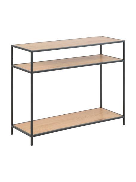 Konsola z drewna i metalu Seaford, Stelaż: metal lakierowany proszko, Półki: dzikie drewno dębowe Stelaż: czarny, S 100 x G 35 cm