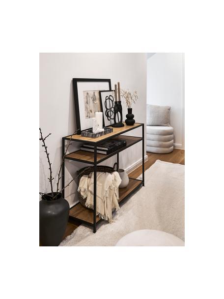 Consola Seaford, Estantes: tablero de fibras de dens, Estructura: metal con pintura en polv, Roble, negro, An 100 x F 35 cm