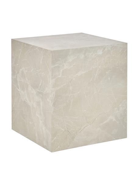 Tavolino effetto travertino Lesley, Pannello di fibra a media densità (MDF) rivestito con foglio di melamina, Beige effetto travertino, Larg. 45 x Alt. 50 cm