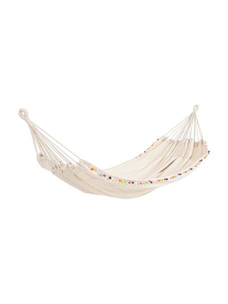 Hängematte Pon-Pon mit bunten Pompoms, 65% Baumwolle, 35% Polyester, Gebrochenes Weiß, 200 x 100 cm