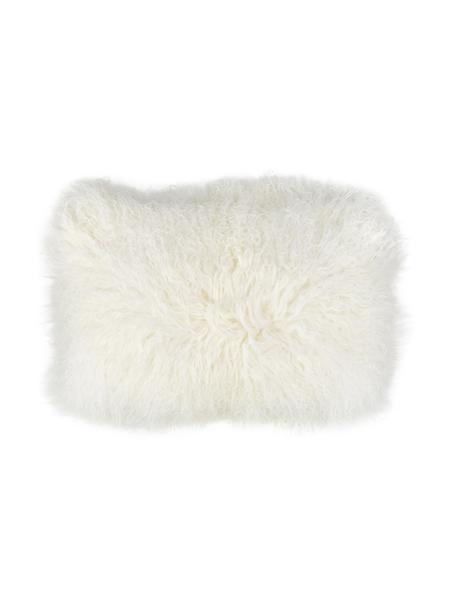 Federa arredo in pelle di agnello a pelo lungo bianco riccio Ella, Retro: 100% poliestere, Bianco naturale, Larg. 30 x Lung. 50 cm