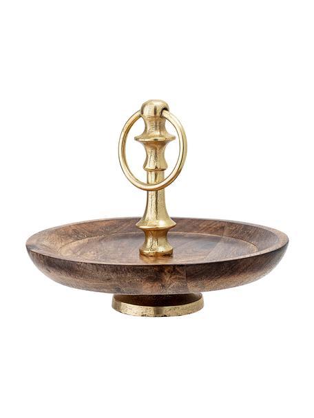 Etagere Carina aus Mangoholz und goldenem Detail, Ø 20 cm, Ablagefläche: Mangoholz, Stange: Metall, beschichtet, Mangoholz, Ø 20 x H 16 cm