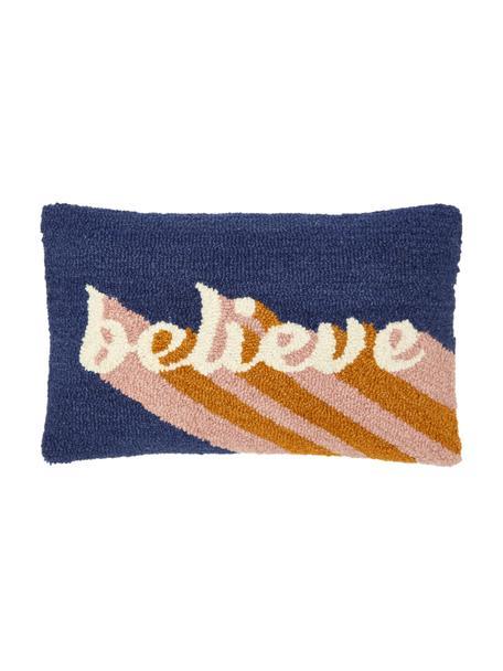 Handgeknoopte kussenhoes Believe met opschrift, Decoratie: 100 % wol, Multicolour, 30 x 50 cm