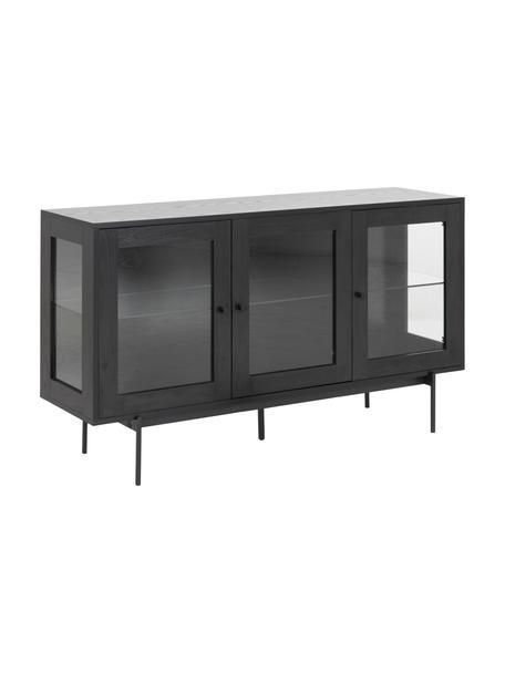 Zwart dressoir Angus met glazen deuren, Frame: MDF, met melamine gecoat, Poten: gecoat metaal, Zwart, transparant, 140 x 82 cm