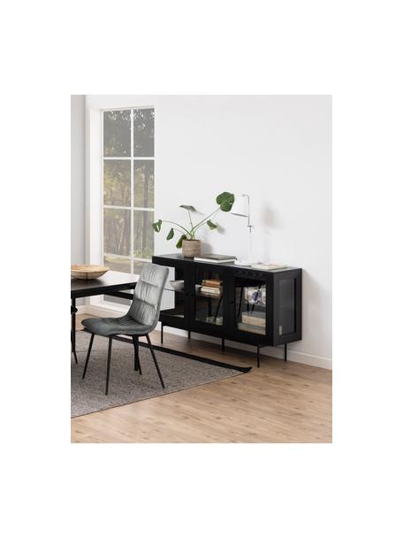 Credenza nera Angus, Ripiani: vetro, Piedini: metallo rivestito, Nero trasparente, Larg. 140 x Alt. 82 cm