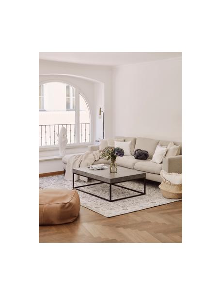 Salontafel Ellis in betonlook, Tafelblad: lichte honingraatstructuu, Frame: gelakt metaal, Betonkleurig, 120 x 38 cm