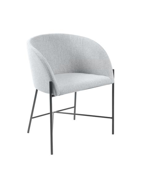 Krzesło tapicerowane z podłokietnikami Nelson, Tapicerka: poliester Dzięki tkaninie, Nogi: metal lakierowany, Jasny szary, nogi: czarny, S 56 x G 54 cm