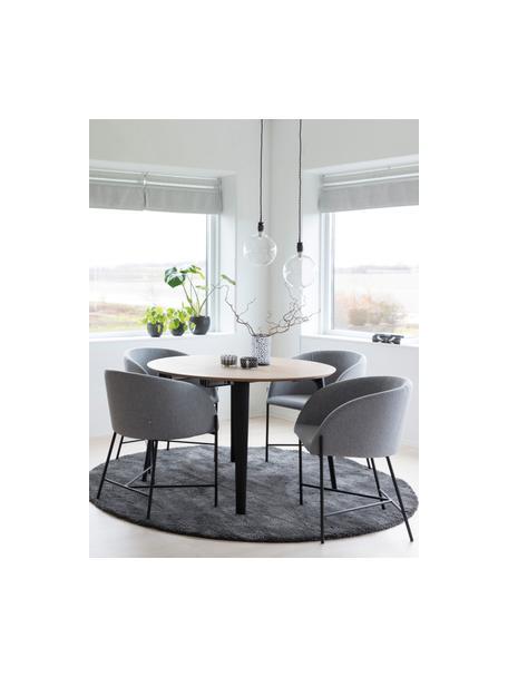 Sedia con braccioli Nelson, Rivestimento: poliestere Con 25.000 cic, Gambe: metallo verniciato, Tessuto grigio chiaro, gambe nero, Larg. 56 x Prof. 54 cm