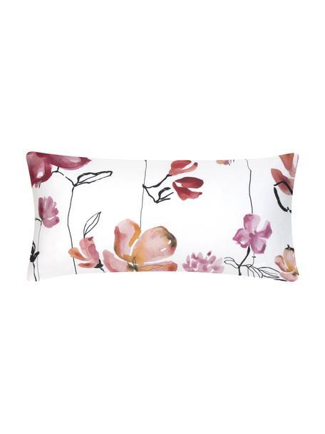 Baumwollsatin-Kopfkissenbezüge Fiori mit Blumen-Muster, 2 Stück, Webart: Satin Fadendichte 200 TC,, Weiß, Rosa, Schwarz, 40 x 80 cm