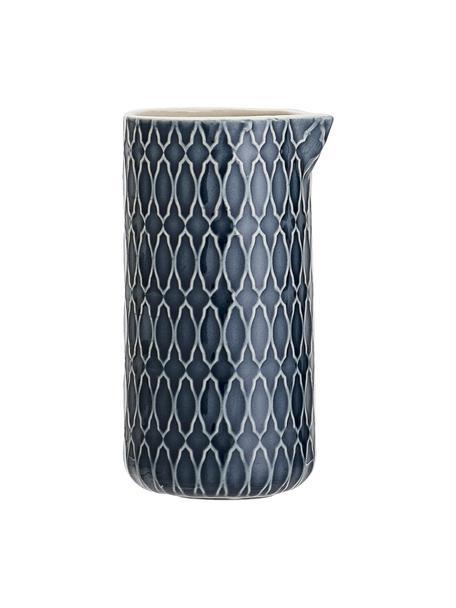 Gemustertes Milchkännchen Naomi in Dunkelblau, 250 ml, Steingut, Blau, Weiß, Ø 6 x H 12 cm
