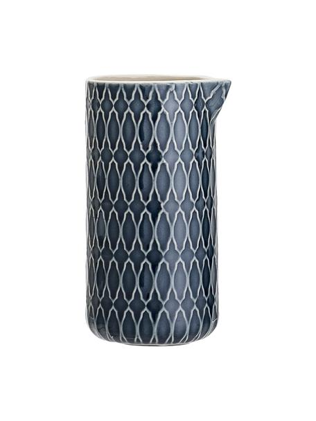 Melkkan met patroon Naomi in donkerblauw, 250 ml, Keramiek, Blauw, wit, Ø 6 x H 12 cm