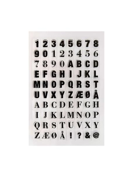 Set timbri Letters & Numbers, Silicone, Nero trasparente, Larg. 14 x Alt. 21 cm