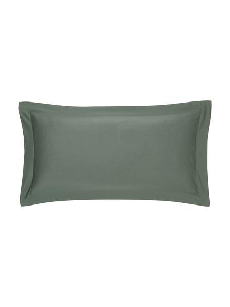 Satin-Kissenbezüge Premium aus Bio-Baumwolle in Dunkelgrün mit Stehsaum, 2 Stück, Webart: Satin Fadendichte 400 TC,, Dunkelgrün, 40 x 80 cm