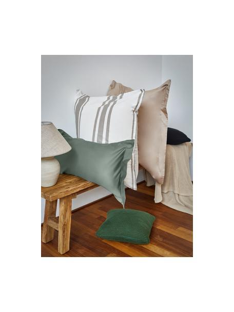 Poszewka na poduszkę z organicznej satyny bawełnianej  z lamówką Premium, 2 szt., Ciemny zielony, S 40 x D 80 cm