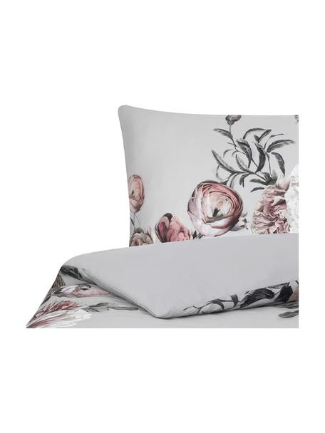 Baumwollsatin-Bettdeckenbezug Blossom, Webart: Satin Fadendichte 210 TC,, Grau, 160 x 210 cm