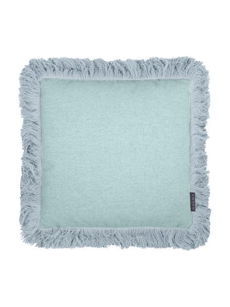 Kussenhoes Tine in mintblauw met franjes, Weeftechniek: jacquard, Mintblauw, 40 x 40 cm