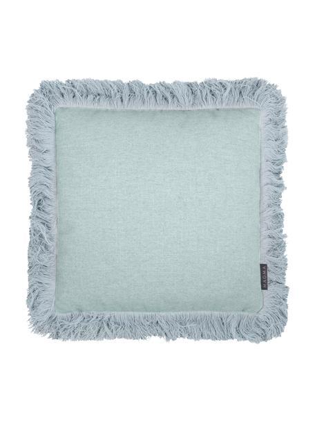 Federa arredo blu menta con frange Tine, Blu menta, Larg. 40 x Lung. 40 cm