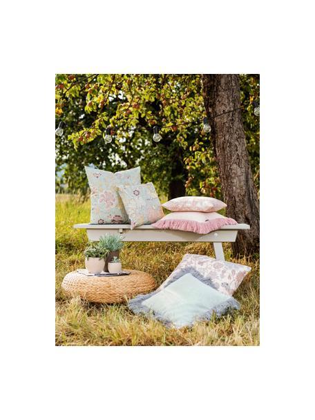 Poszewka na poduszkę z frędzlami Tine, Miętowoniebieski, S 40 x D 40 cm