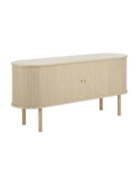Houten dressoir Calary met geribde voorzijde, Frame: MDF en multiplex met eike, Poten: massief eikenhout, FSC-ge, Licht hout, 160 x 75 cm