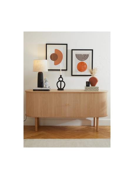 Komoda z drewna z ryflowanym frontem Calary, Korpus: płyta pilśniowa średniej , Nogi: lite drewno dębowe, certy, Jasne drewno naturalne, S 160 x W 75 cm