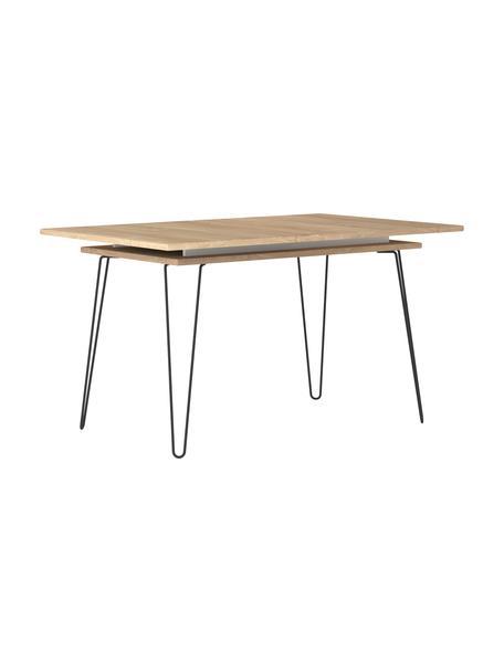 Tavolo allungabile con rivestimento in legno di quercia Aero, Gambe: metallo verniciato, Legno di quercia, Larg. 134 a 174 x Prof. 90 cm